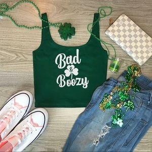 St. Patrick's Day Cropped Tank Top Bad & Boozy